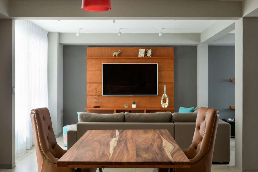 the residence remodel included some nice wooden custom made furniture pieces