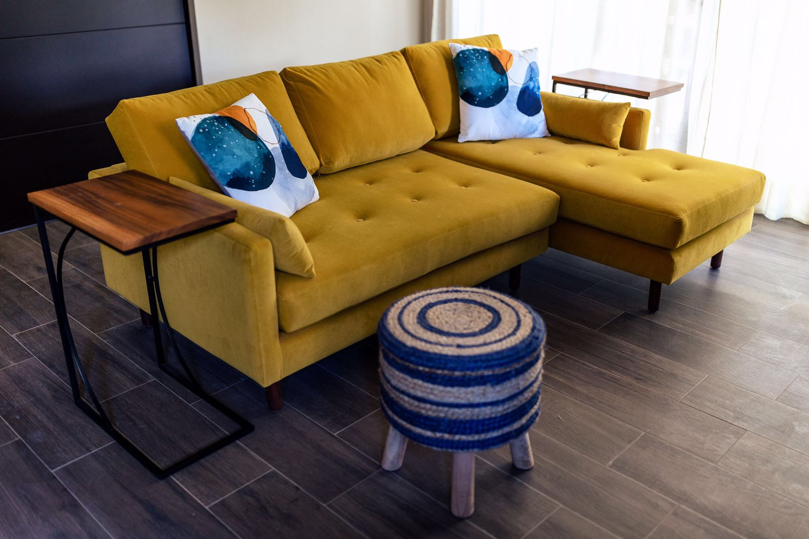 bold mustard yellow couch