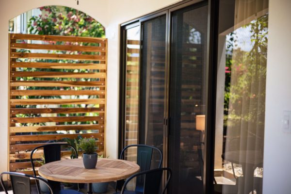 wooden privacy screen on the patio