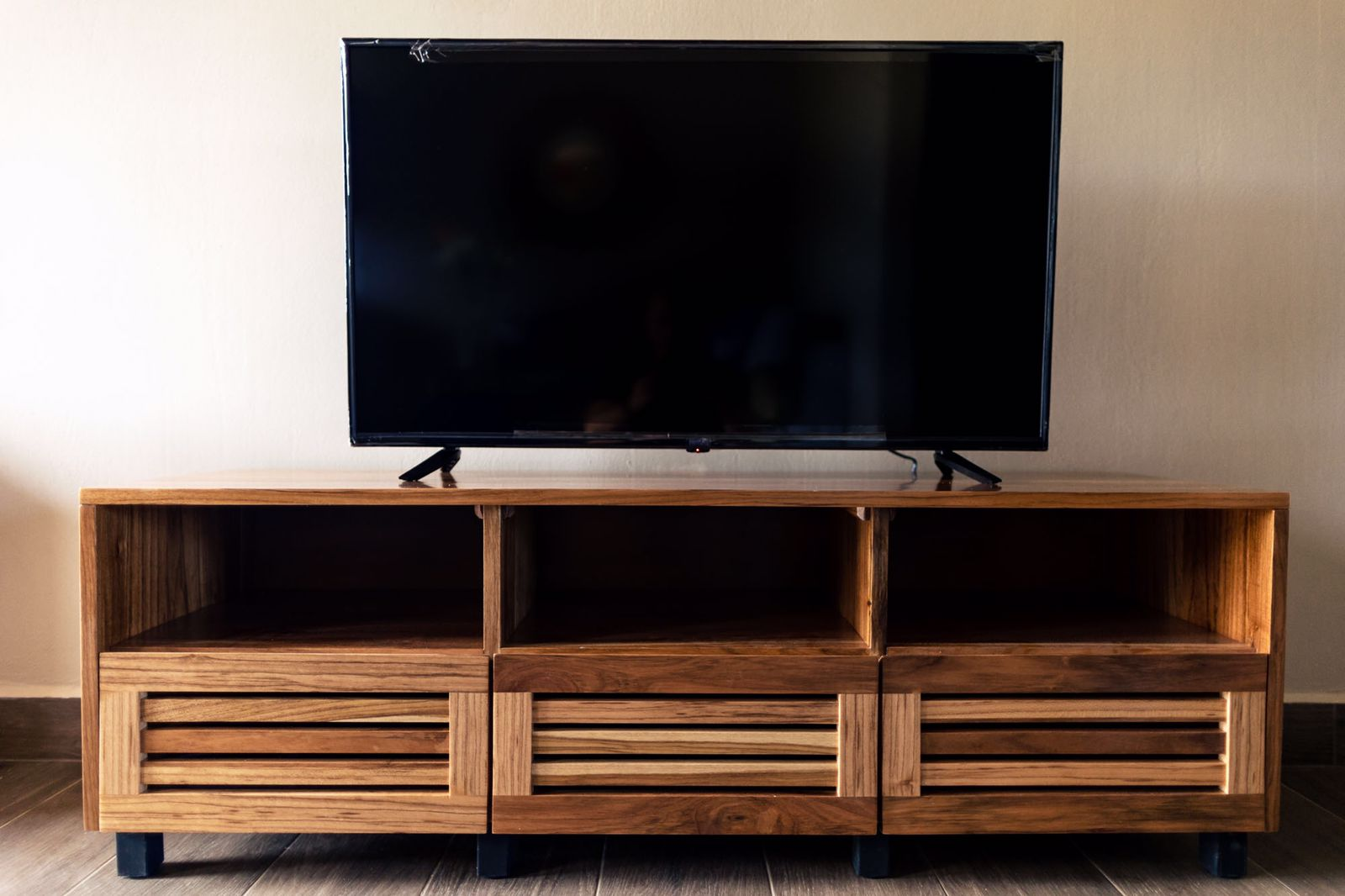 Entertainment center with beautiful wood grain