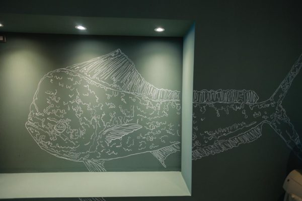 Stencils of popular fish species add a chic touch