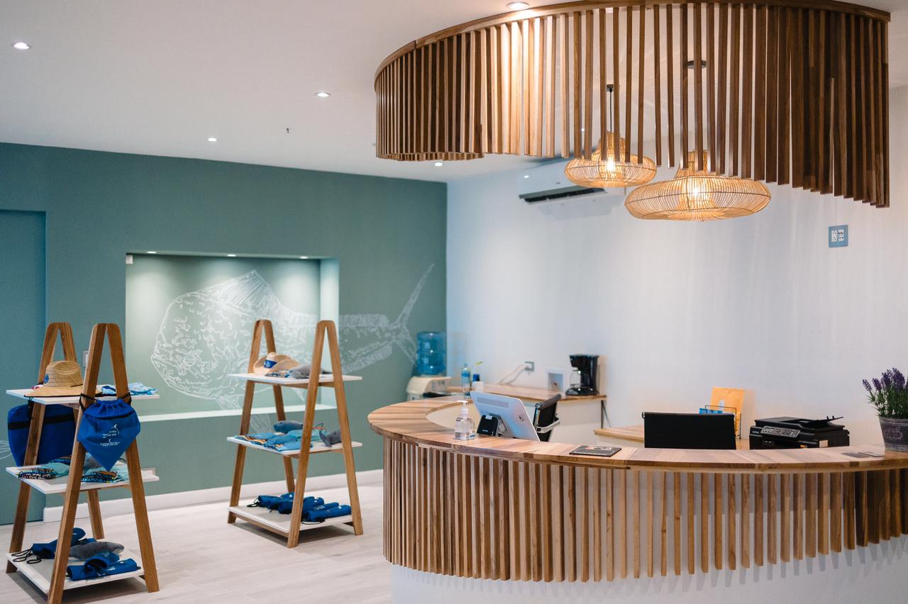 Modern design for the front desk at Pez Vela Marina